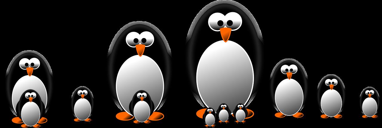 ペンギンの親子たち
