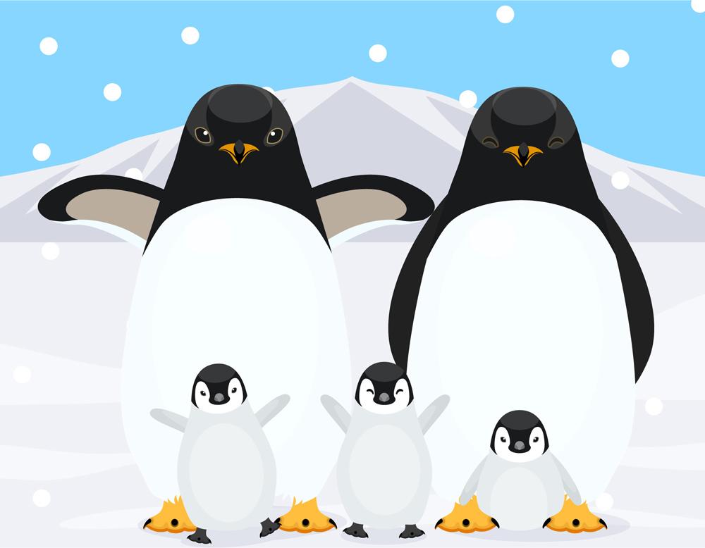 ペンギン夫婦親子