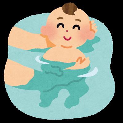 赤ちゃんをそっと、お風呂にいれて上げている