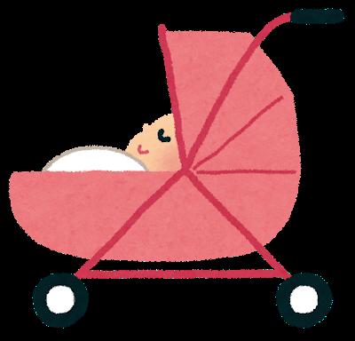 ピンクのかわいいベビーカーに横になっている、赤ちゃん