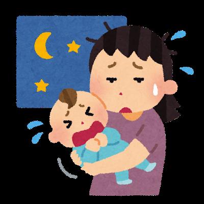 赤ちゃんが夜泣きして、困りながらあやしているお母さん