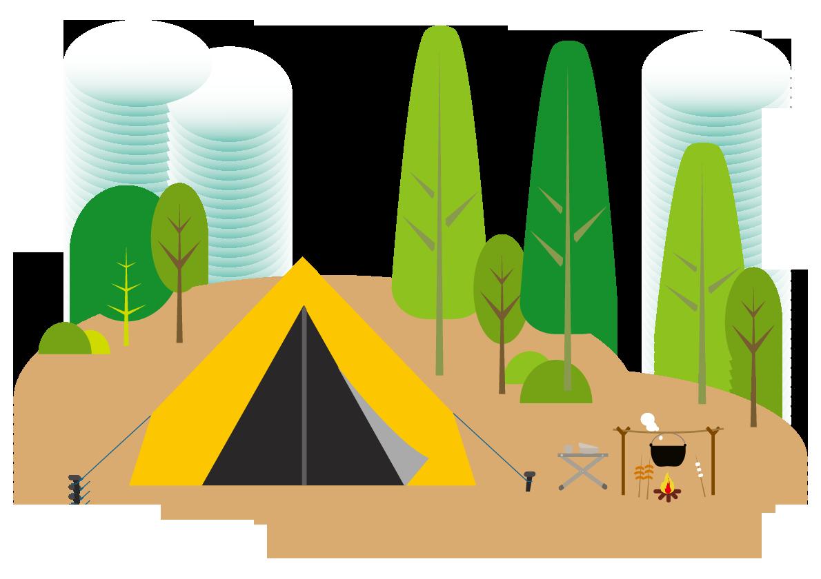 山でのテントと炊飯