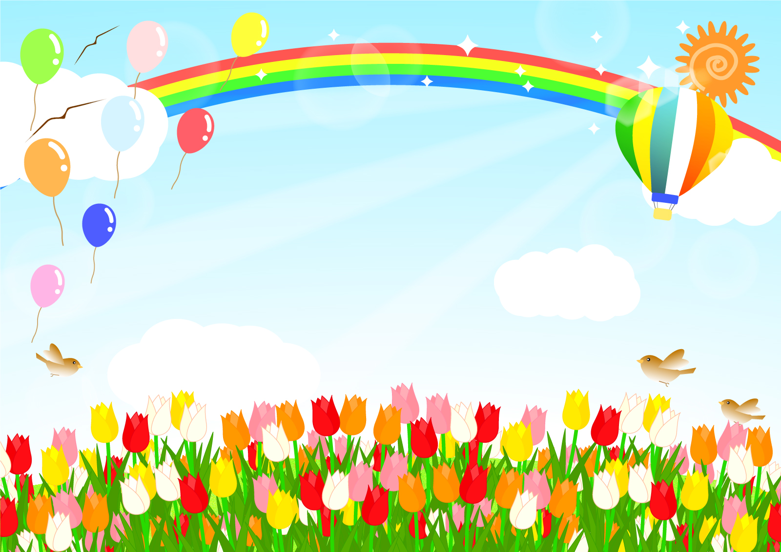チューリップと虹と風船と気球