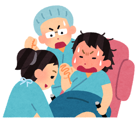 出産中の女性と助産師さん、それを応援する旦那さん