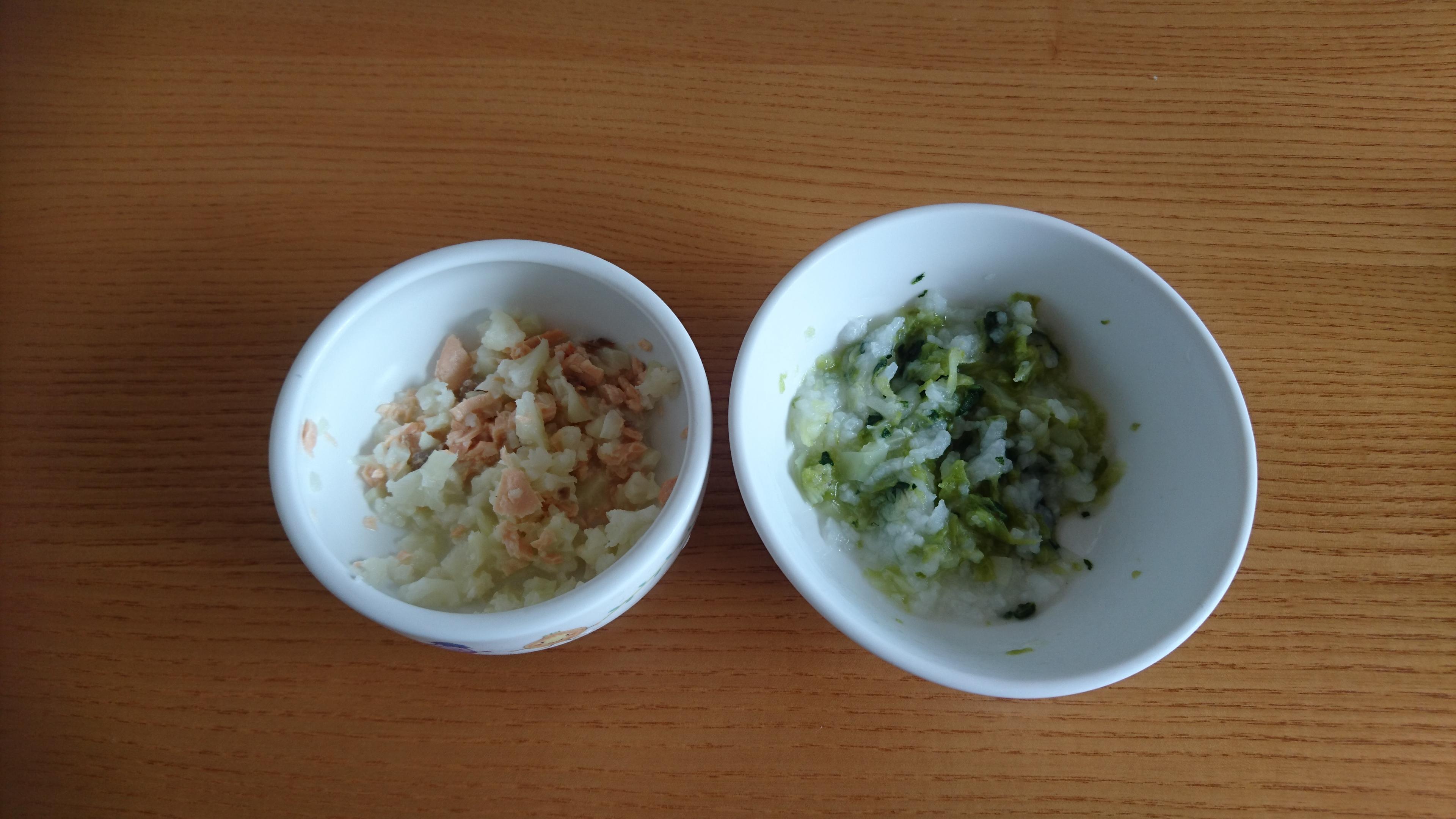 離乳食:チンゲン菜とキャベツのおかゆなど