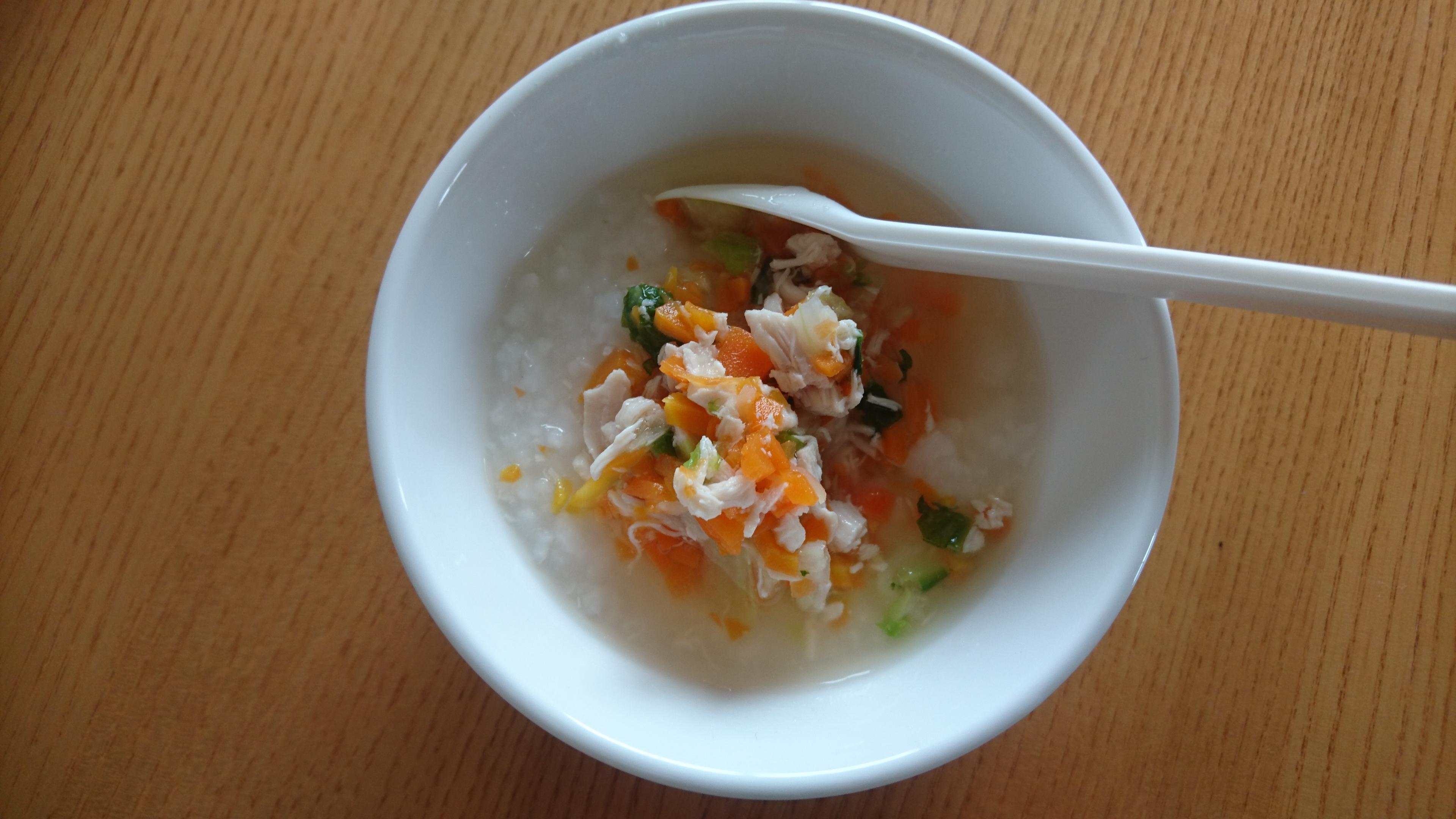 離乳食:白菜と人参とささみのあんかけがゆなど